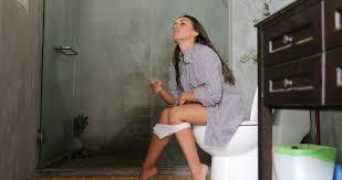 Black girl poop in toilet