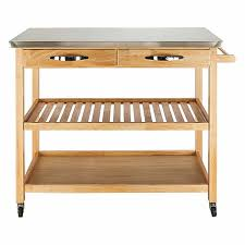 fch moveable kitchen cart with stainless steel table top two drawers two shelves burlywood com