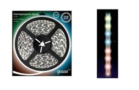 Светодиодная лента Gauss 5050/60-SMD LED 14.4W <b>12V</b> DC 5m ...
