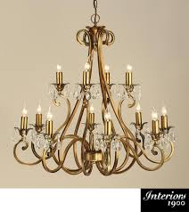 interiors 1900 oksana 12 light chandelier antique brass crystal ul1p12b