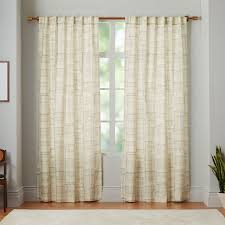 mid century cotton canvas etched grid curtains set of 2 slate west elm