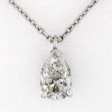 details about 14k white gold gia 0 69ct pear diamond tear drop solitaire pendant w 16 chain