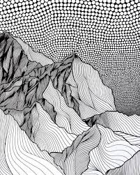 Just point out the dots and spill ink through them! Artist Draws Countless Lines And Dots To Capture The Majestic Beauty Of Mountains Mountain Drawing Pattern Art Line Art Drawings