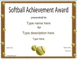 Sports Certificate Softball Certificate