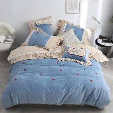 luxury velvet flannel lovely berries bedding set warm fleece ruffles duvet cover bed sheet pillowcase queen king size 4 6 white duvet super king bedding