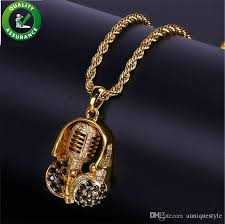 whole iced out chains designer necklace hip hop jewelry mens gold chain pendants luxury micro paved cz diamond gold headphone brand rapper charms cute
