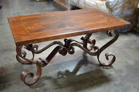 Table wrought iron coffee base antique varnished wood and teak table  wrought iron coffee base antique