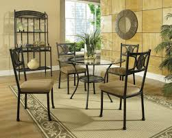 image of modern round glass top dining table