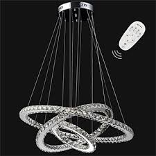 dimmable led pendant light modern remote control crystal chandelier lamp fixtures with 3 ring d705030 ce ul