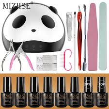 mizhse diy nail art practice nail gel tools set soak off 6 colors uv gel base