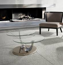 porto lujo modern round glass swivel coffee table choice of base colour