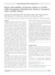 pdf relative bioavailability of apixaban solution or crushed tablet formulations administered by mouth or nasogastric in healthy subjects