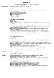 Research Assistant Resume Sample Research Study Assistant Resume Samples Velvet Jobs 21