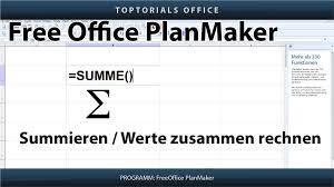 Plan Maker Summen Bilden Summieren Freeoffice Planmaker Toptorials