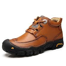 men casual fashion leather hiking work shoes boots brown