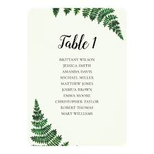 Zazzle Size Chart Green Fern Seating Chart Summer Weddin Table Plan Invitation