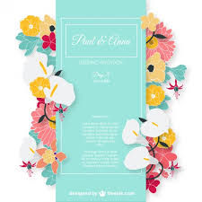 invitations cards free wedding invitation card with colorful flowers vector free download