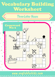 Vocab Building Worksheets Vocabulary Building Worksheets Three Letter Noun Crosswords