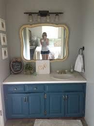 bathroom track lighting master bathroom ideas. Bathroom Colors Beach Blue Brown Wall Paint Sink Vanity Warm Painted Herringbone Tile Wood Cabinet Granite Countertop Stone Flooring Track Lighting Master Ideas E