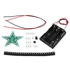 Diy Smd Led Light 3pcs Red Diy Smd Pentagram Led Flash Light Electronic Practice Kit With Battery Case