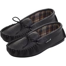 lambland mens moccasin slippers black leather cotton lined uk made hard sole