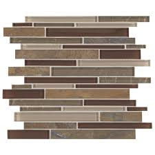 daltile stone decor rustic slate with mixed color glass 12 in x 14 in