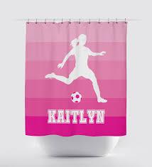 pink shower curtains. Ombrà Striped Shower Curtain Soccer Player Girls Teens White Light Pink Curtains