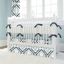 navy and gray geometric crib bedding