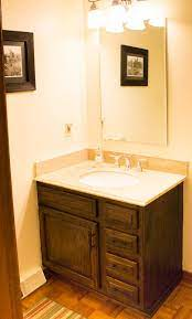 restaining bathroom cabinets with water