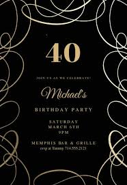 Birthday Party Evites 40th Birthday Invitation Templates Free Greetings Island
