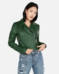 12express green faux leather moto jacket 70 80