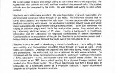 Physician Assistant School Application Recommendation Letter