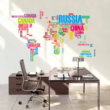 creative office decor. diy colorful letters world map wall stickers for kids rooms living room office home decor creative