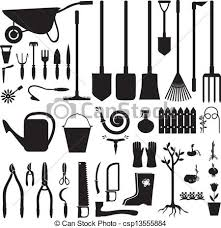 Small Picture Vector of Garden equipment set Set of silhouette images of