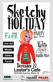 beached miami sketchy holiday party flyer