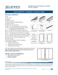 jeld wen nds002 premium quad panel sliding patio doors user manual 3 pages