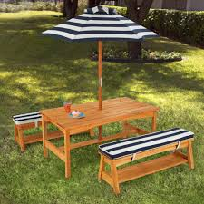 children s outdoor table and chair set with cushions and umbrella