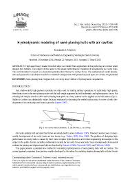 Planing Hull Design Theory Hydrodynamic Modeling Of Semi Planing Hulls With Air