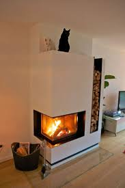Modern Corner Wood Burning Fireplace With Firewood Storage On The Right  Side, Contemporary Fireplace Design
