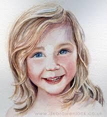 beth smiling child portrait in watercolour by debra wenlock