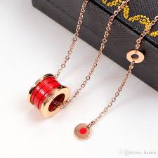 whole luxury red ceramic pendants necklaces rose gold silver metal colors titanium stainless steel women men chain jewelry mens necklace family pendant