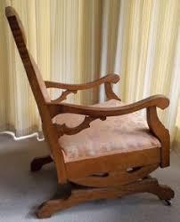 Antique Oak Upholstered Platform Rocking Chair Rocker