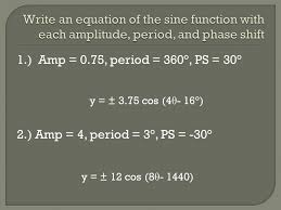 write an equation of the sine function with each amplitude period and phase shift