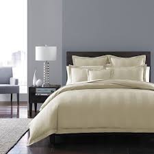 hudson park collection king comforter cover 600 thread count stripe ivory 0