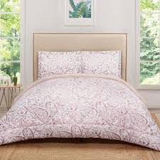 truly soft watercolor paisley blush pink full queen comforter set