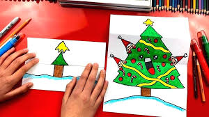 Christmas Drawing How To Draw A Tree Folding Surprise