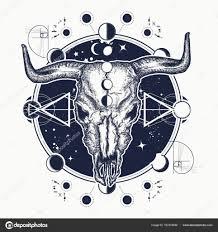 Bison Lebka Tetování Indiánské Býčí Lebka Stock Vektor Intueri