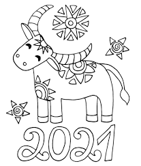 Bull zodiac symbol of the year 2021. Ox Coloring Pages Print Ox New Year 2021 Wonder Day