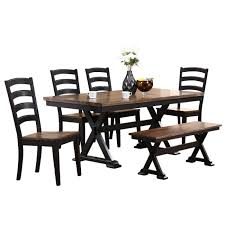 dining set for 6 cambridge 6 piece black dining set with bench for