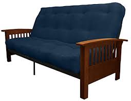 epic furnishings morris mission style microfiber suede futon sofa sleeper bed walnut frame
